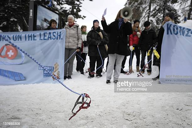 Activist against the World Economic Forum annual meeting hold a protest with fake dog leash on January 25, 2012 at the Congress Center in Davos. The...