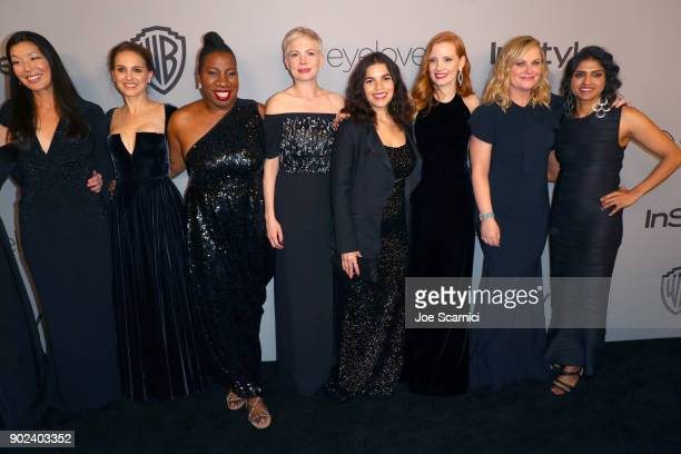 Activist Aijen Poo actor Natalie Portman activist Tarana Burke actors Michelle Williams America Ferrera Jessica Chastain Amy Poehler and activist...
