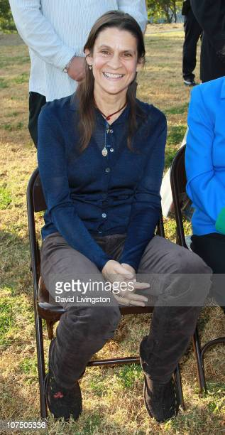 AIDS activist Aileen Getty attends an event celebrating the expansion of Griffith Park at Lake Hollywood Park on December 9 2010 in Los Angeles...