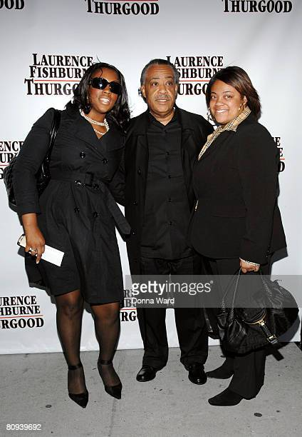 """Activist Al Sharpton poses with daughters Dominique Sharpton and Ashley Sharpton at the opening night of """"Thurgood"""" at the Booth Theater on Broadway..."""