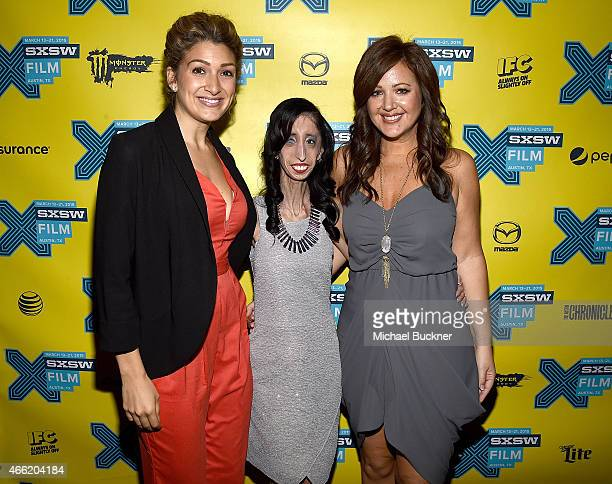 Activist Alexis Jones Lizzie Velasquez and director Sara Hirsh Bordo arrive at the premiere of 'A Brave Heart The Lizzie Velasquez Story' at...