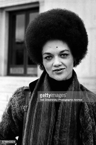 Activist and Black Panther Kathleen Cleaver stands in front of the Alameda County Courthouse in Oakland during the trial of her husband Eldridge...