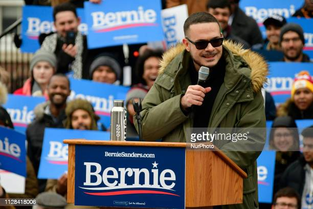 Activist and journalist Shaun King takes the stage to stump for Sen Bernie Sanders during the 2020 campaign kickoff at Brooklyn College in Brooklyn...