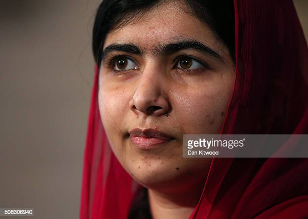 Activist and Nobel Peace Prize winner Malala Yousafzai looks on during a press conference following the first focus event on education at the...