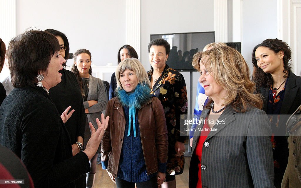 Activist and playwright Eve Ensler (L) talks with Thandie Newton (R) and Baroness Scotland at a photocall to promote One Billion Rising, a global movement aiming to end violence towards women at ICA on February 5, 2013 in London, England.