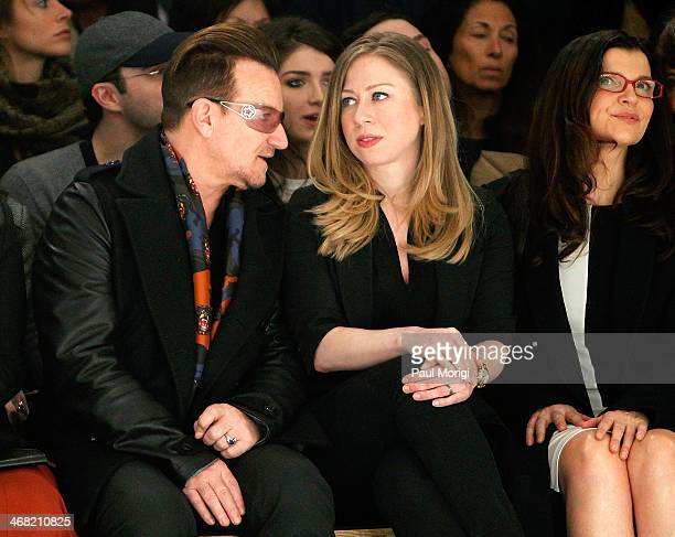 Activist and U2 frontman Bono Chelsea Clinton and Edun founder Ali Hewson attend the Edun show during MercedesBenz Fashion Week Fall 2014 at Skylight...