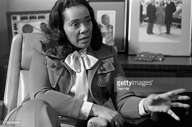 Coretta Scott King being interviewed in her office at the Martin Luther King Center