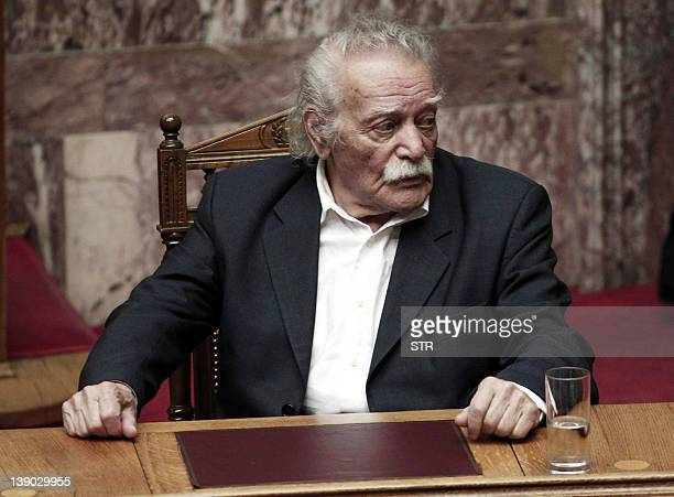 Activist and writer Manolis Glezos sits in the Greek parliament in Athens on February 12 2012 Glezos an emblematic figure of Greece's radical left...