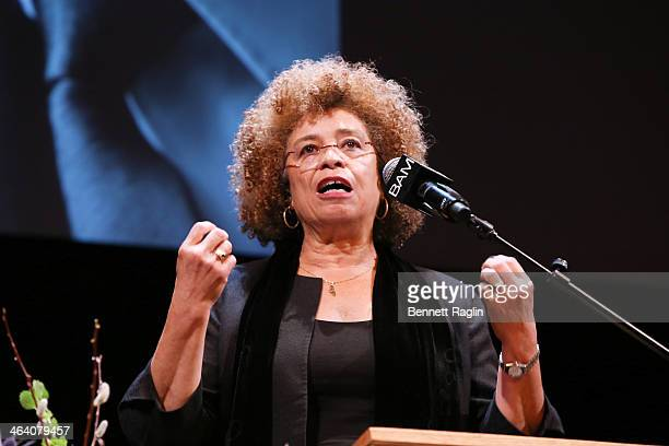 Activist Angela Davis attends the 28th annual Brooklyn tribute to Dr. Martin Luther King Jr. At BAM Howard Gilman Opera House on January 20, 2014 in...