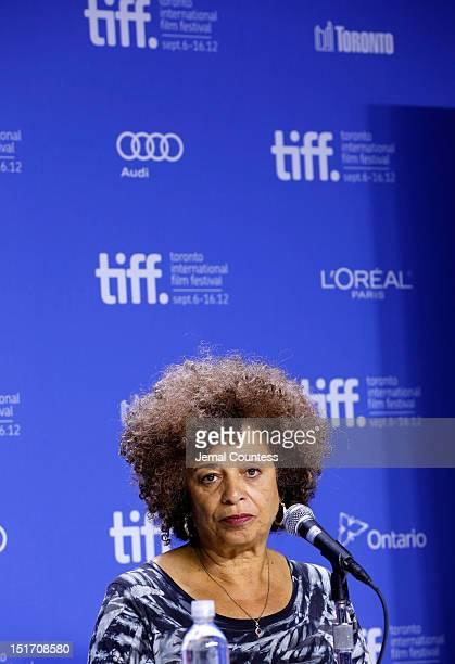 Activist Angela Davis speaks onstage at Free Angela All Political Prisoners Press Conference during the 2012 Toronto International Film Festival at...
