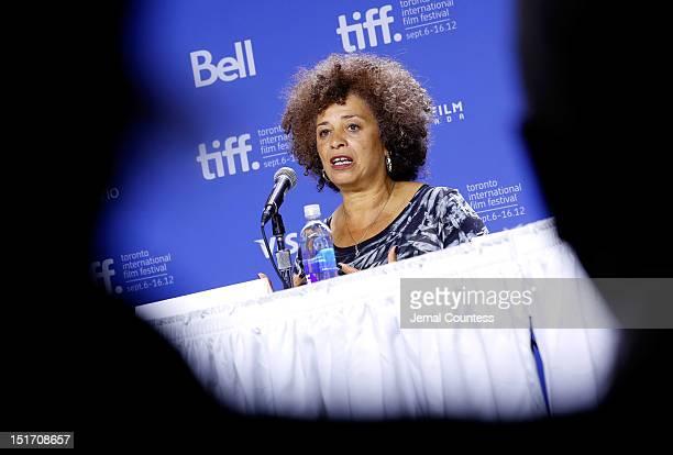 Activist Angela Davis speaks onstage at the Free Angela All Political Prisoners Press Conference during the 2012 Toronto International Film Festival...