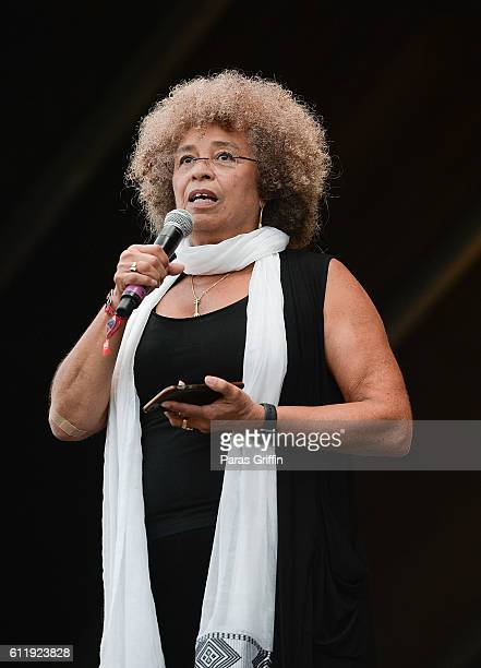 Activist Angela Y Davis onstage at 2016 Many Rivers to Cross Festival at Bouckaert Farm on October 1 2016 in Fairburn Georgia