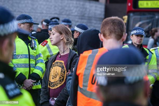 Activist Anna Campbell was among protesters detained by the Police on September 7 2013 in London United Kingdom Antifascists protesting against...