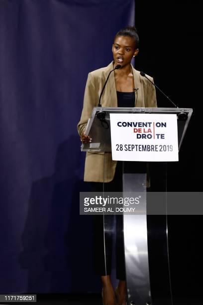 US activist Candace Owens delivers a speech during the Convention de la Droite in Paris on September 28 2019