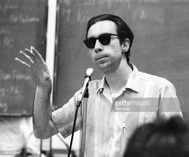 Activist Carl Oglesby gives a speech at a school in East Lansing, Michigan in 1968.