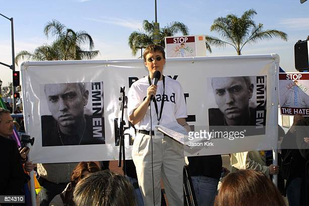 Activist Cathy Renna of GLAAD speaks at 'The Rally Against Hate' February 21 2001 outside the Grammy Awards at the Staples Center in Los Angeles CA...
