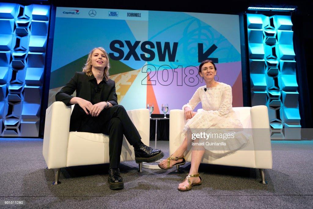 Activist Chelsea Manning (L) and Creative Digital Director of American Vogue Sally Singer speak onstage at Free Radical: Chelsea Manning with Vogue's Sally Singer during SXSW at Austin Convention Center on March 13, 2018 in Austin, Texas.