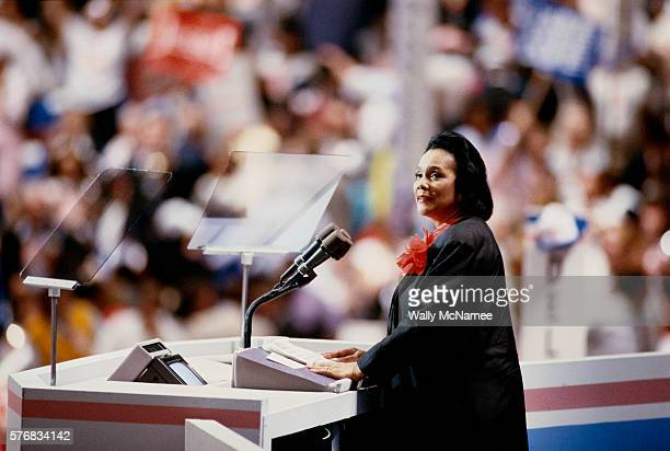 Activist Coretta Scott King addresses the 1988 Democratic National Convention in Atlanta Georgia