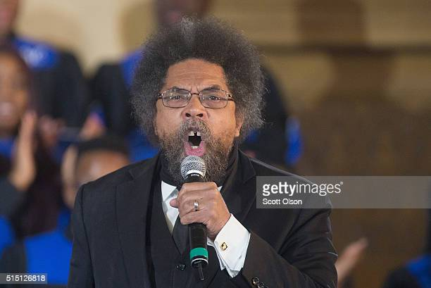 Activist Cornel West speaks at Operation Rainbow Push prior to a visit by Democratic presidential candidate Senator Bernie Sanders on March 12 2016...