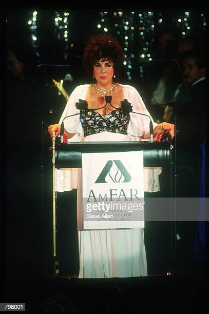 Activist Elizabeth Taylor speaks at a gala fundraiser on World AIDS Day November 13 1990 in New York City World AIDS Day was created in an effort to...