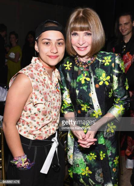 Activist Emma Gonzalez and Anna Wintour attend The Center Dinner 2018 at Cipriani Wall Street on April 19 2018 in New York City