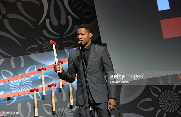 Activist filmmaker Theodore Parker Prize Winner Nate Parker speaks on stage at Tribeca Disruptive Innovation Awards 2016 Tribeca Film Festival at...
