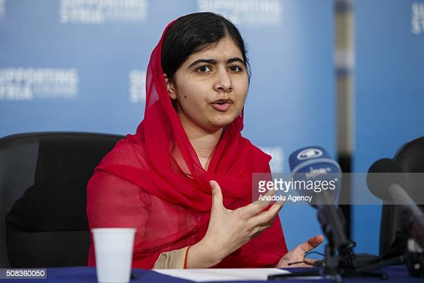 Activist for female education and youngestever Nobel Peace Prize winner Malala Yousafzai holding a press conference at Supporting Syria and the...