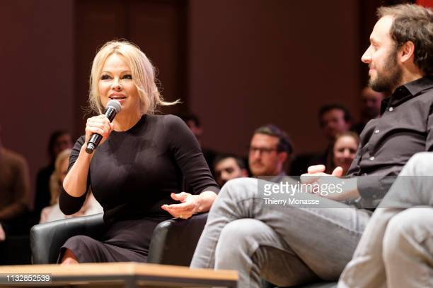 Activist for the animal rights movement Pamela Anderson and the Philosopher author and political activist Srecko Horvat are listening during the...