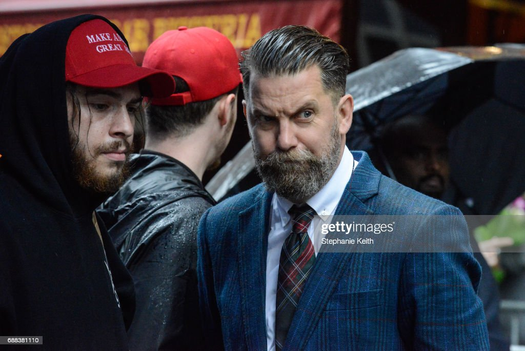 Activist Gavin McInnes takes part in an Alt Right protest of Muslim activist Linda Sarsour on April 25, 2017 in New York City.