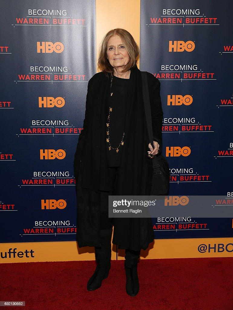Activist Gloria Steinem attends 'Becoming Warren Buffett' World premiere at The Museum of Modern Art on January 19, 2017 in New York City.