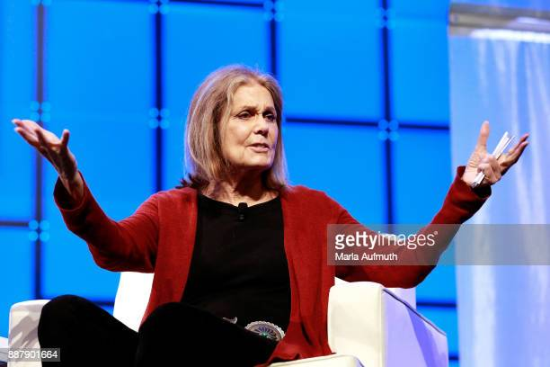 Activist Gloria Steinem speaks during the Massachusetts Conference for Women 2017 at the Boston Convention Center on December 7 2017 in Boston...