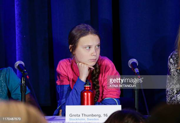 Activist Greta Thunberg attends a press conference where 16 children from across the world, present their official human rights complaint on the...
