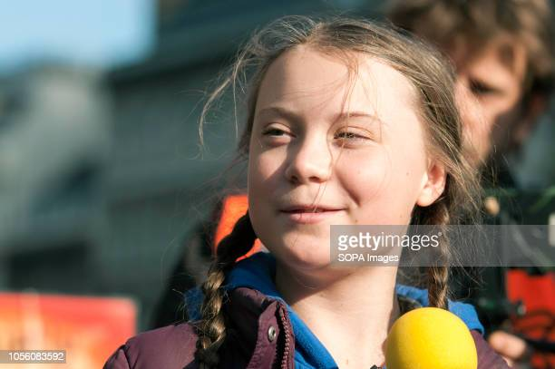 Activist Greta Thunberg seen speaking during the protest The newly formed Extinction Rebellion group concerned about climate change calls for a...