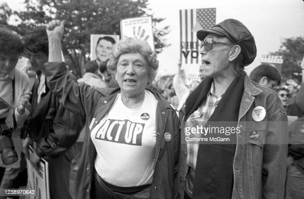 Activist group ACT UP protest at the headquarters of the Food and Drug Administration on October 11, 1988 in Rockville, Maryland. The action, called...