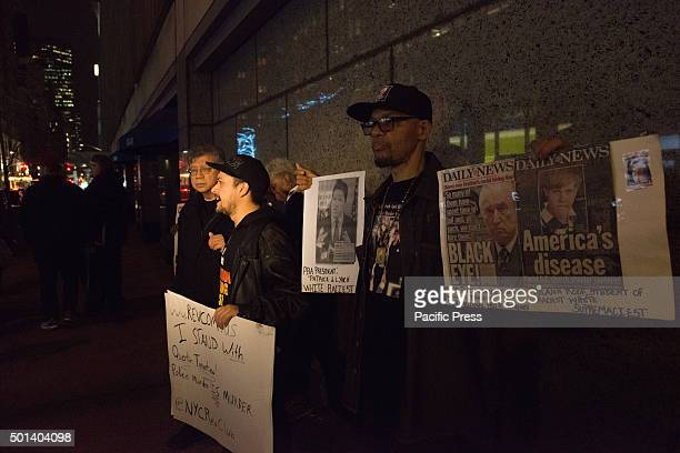 Activist including Nicholas Heywood Sr participate in a rally opposite the Ziegfeld Theater before the premiere of Tarantino's 'Hateful Eight' At the...