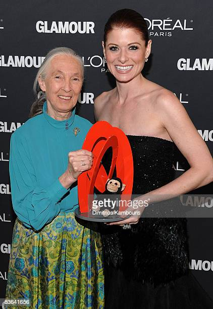 Activist Jane Goodall and actress Debra Messing attend the Glamour Magazine 2008 Women of the Year Awards at Carnegie Hall on November 10 2008 in New...