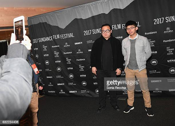 Activist Joshua Wong and Derek Lam attend the Joshua Teenager vs Superpower premiere during day 2 of the 2017 Sundance Film Festival at Temple...
