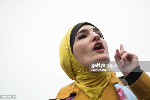 Activist Linda Sarsour speaks during a 'Women For Syria' gathering at Union Square April 13 2017 in New York City The group gathered to support and...