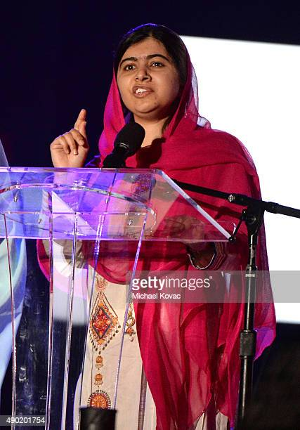 Activist Malala Yousafzai presents onstage at the 2015 Global Citizen Festival to end extreme poverty by 2030 in Central Park on September 26 2015 in...