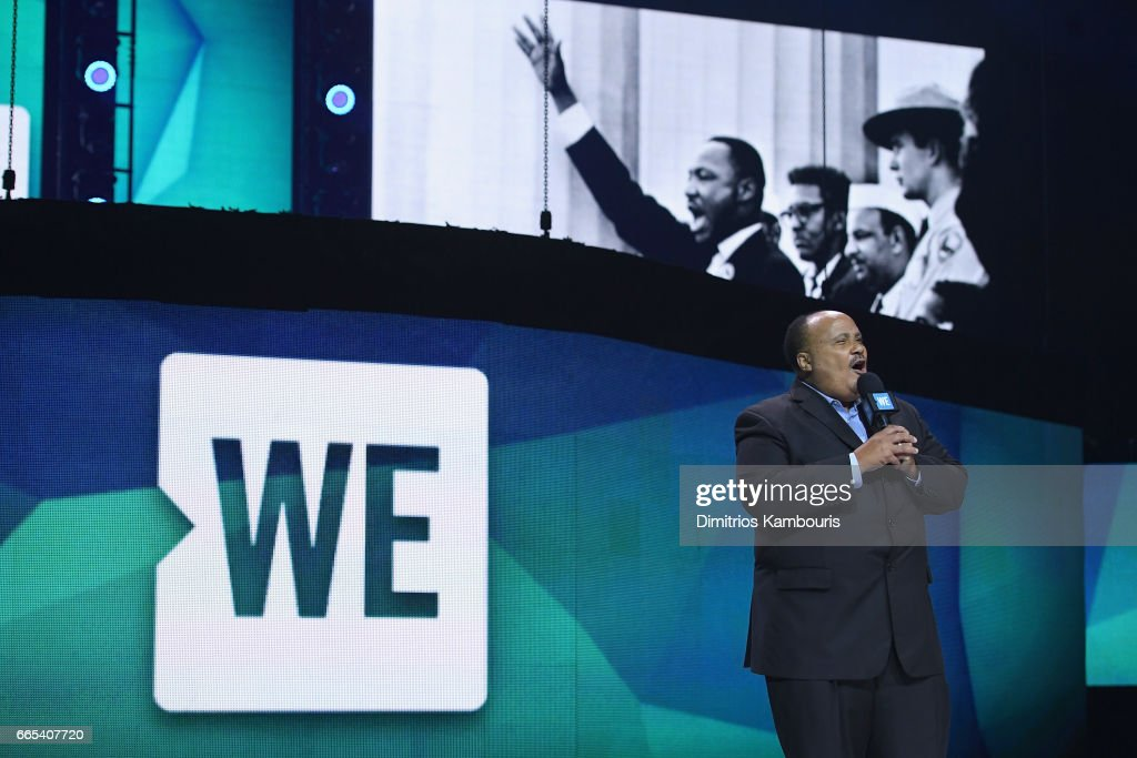 Activist Martin Luther King III speaks on stage during WE Day New York Welcome to celebrate young people changing the world at Radio City Music Hall on April 6, 2017 in New York City.