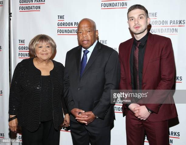 Activist Mavis Staples congressman John Lewis and Alex Soros attend the 2017 Gordon Parks Foundation Awards Gala at Cipriani 42nd Street on June 6...