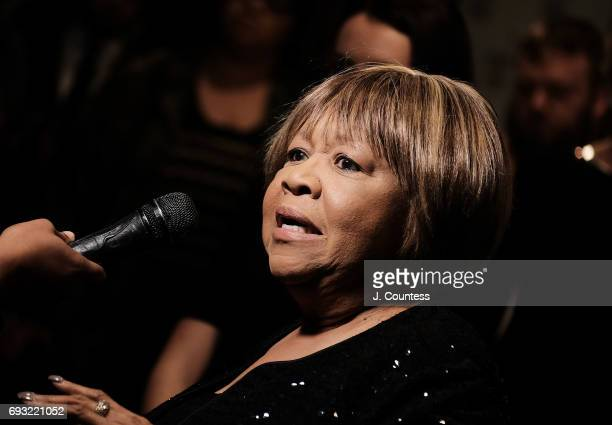 Activist Mavis Staples speaks to the media during the 2017 Gordon Parks Foundation Awards Gala at Cipriani 42nd Street on June 6 2017 in New York City