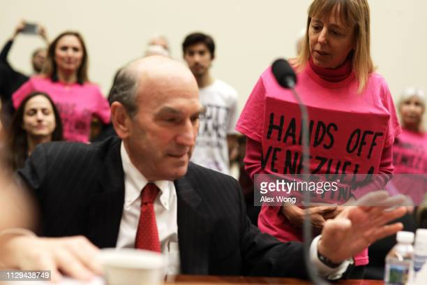 Activist Medea Benjamin of CODEPINK confronts US Special Representative for Venezuela Elliott Abrams prior to a hearing before the House Foreign...