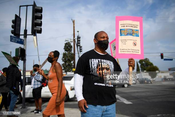 Activist Najee Ali protests the killings of people by police including the death of George Floyd and Daunte Wright on April 12, 2021 at the...