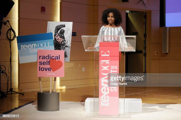 Activist Naomi Wadler speaks onstage during the Teen Vogue Summit 2018: #TurnUp - Day 1 at The New School on June 1, 2018 in New York City.