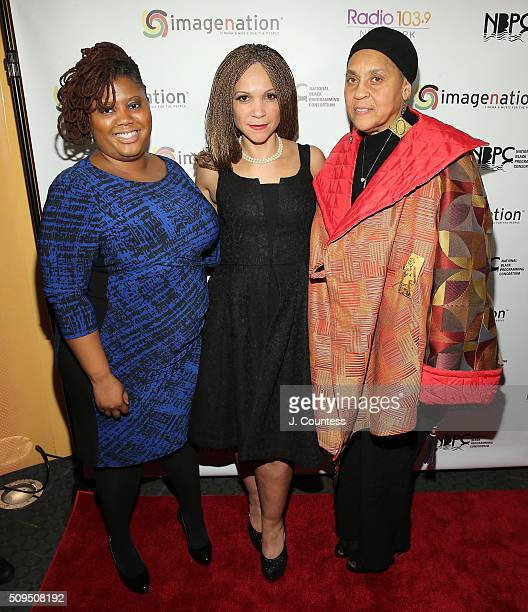 Activist Nekeisha Lewis journalist Melissa HarrisPerry and Yasmeen Sutton of the Corona Branch of the Black Panthers pose for a photo at the...