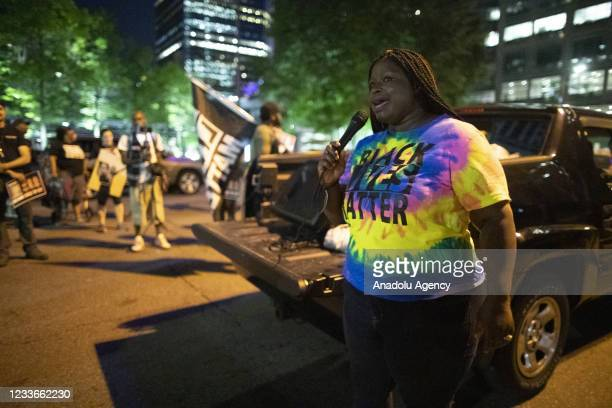 Activist nekima Levy-Armstrong speaks to a crowd of protesters near the Hennepin County Government Center. The protests goal was to raise awareness...