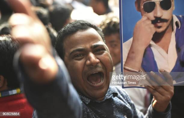 Activist of Bhim Army at Jantar Mantar during Hunkar Rally to release Bhim Army chief Chandrashekhar Azad Ravan on January 9 2018 in New Delhi India...
