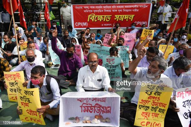 Activist of Communist Party of India protest against Govt over a hike in the prices of vegetables in Guwahati India on 04 November 2020