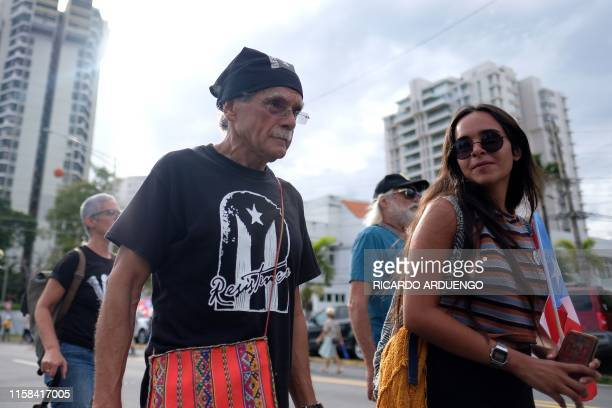 Activist Oscar Lopez Rivera marches during a protest in San Juan on July 29 against the next in line for Puerto Rico's governor Wanda Vazquez Puerto...